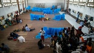 Cyclone survivors shelter in a school in Beira, Mozambique