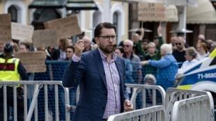 Jimmie Åkesson, líder do partido démocrata (Sverigedemokraterna - SD) durante campanha eleitoral. 31 de agosto de 2018.