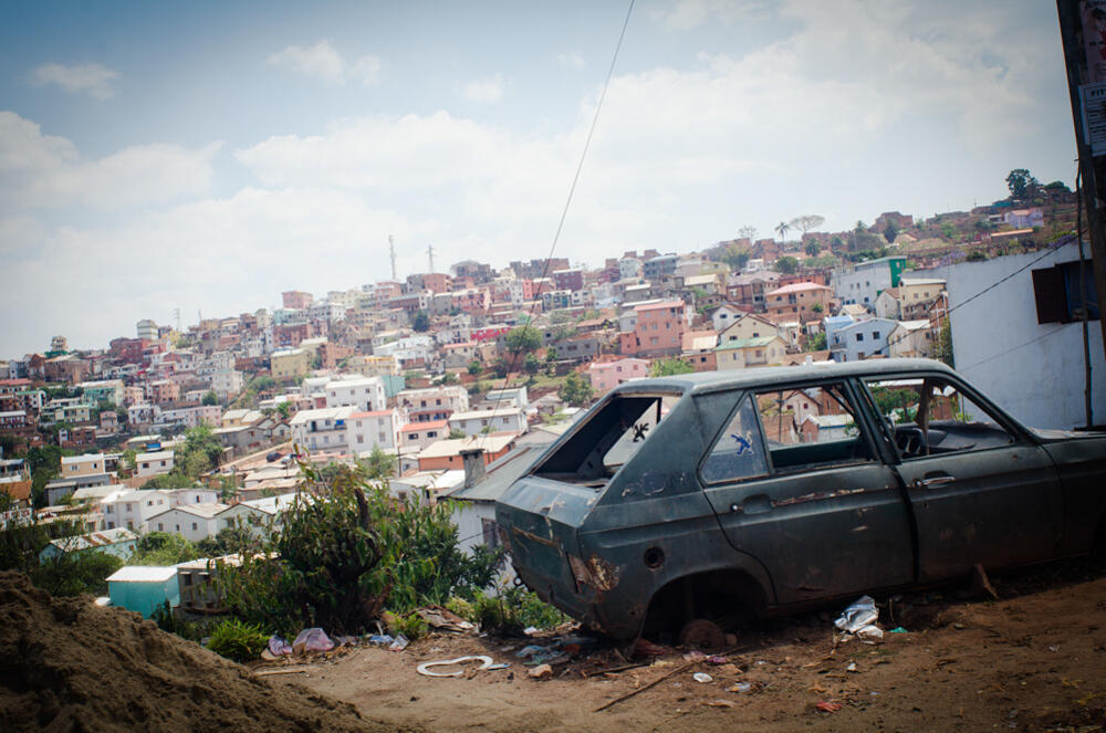 Vue du quatrier populaire d'Ambolokandrina. Antananarivo.