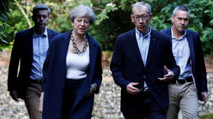 British Prime Minister Theresa May and her husband Phlip arrive at church on the Sunday after the British election