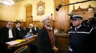 L'ex-ministre des Finances, Christine Lagarde lors du premier jour de son procès le 12 décembre 2016.