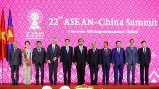 Các nhà lãnh đạo ASEAN và Trung Quốc tại thượng đỉnh 2019, Bangkok, Thái Lan, ngày 03/11/2019.