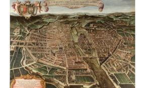 Джованни-Марии Тамбурини. План Парижа. Музей Карнавале. 1632–1641.