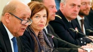 French Foreign Minister Jean-Yves Le Drian and Defence Minister Florence Parly meet their Russian counterparts in Moscow on 9 September, 2019.