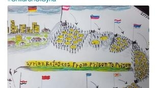 A refugee child's drawing of prison