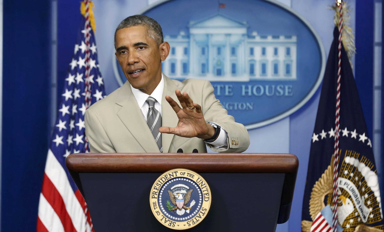Tổng thống Mỹ Barack Obama họp báo tại Nhà Trắng, Washington, 28/08/2014