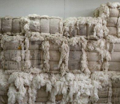 Des balles de coton stockées dans un entrepôt d'une usine de la province du Shaanxi, en Chine. (image d'illustration)