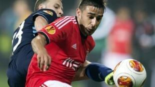 Salvio, médio argentino do Benfica, apontou o único golo dos encarnados frente ao AZ Alkmaar.