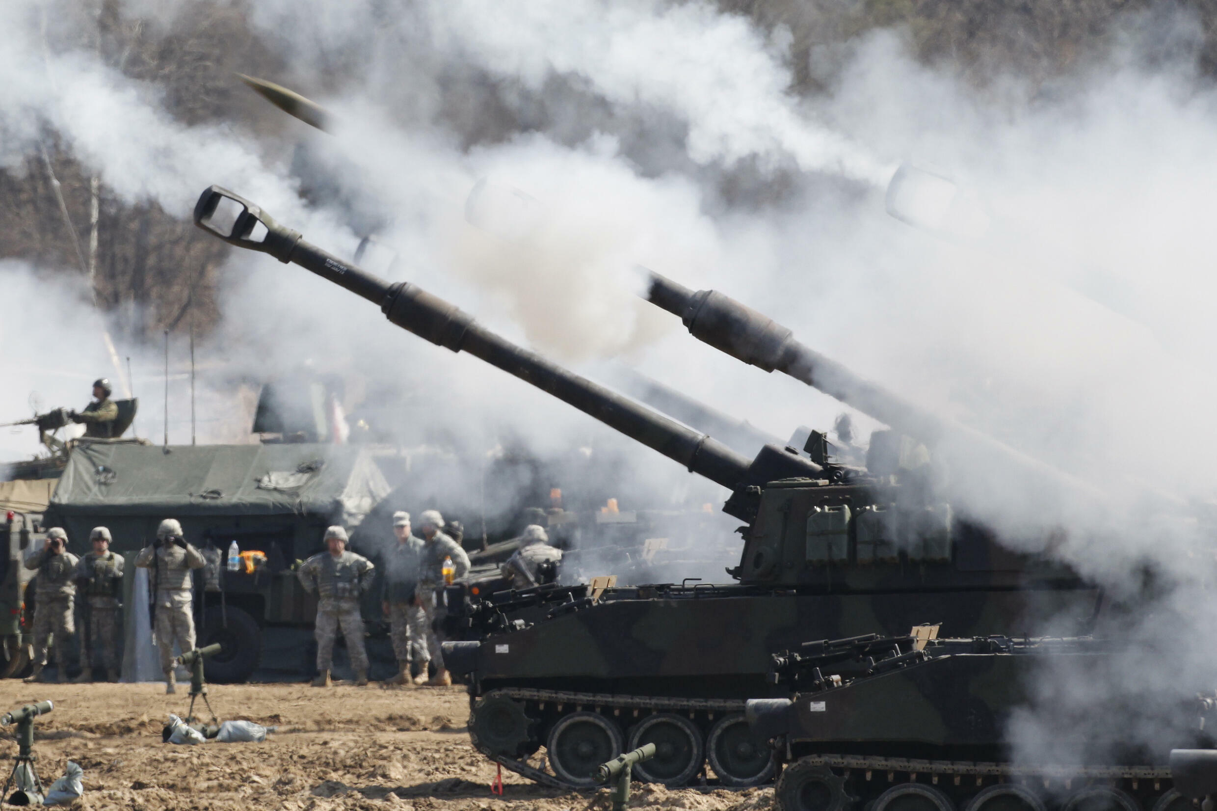 Moveable howitzers such as the M109A6, seen here during a 2012 US Army drill in South Korea, would be key to halting an invasion of Taiwan