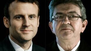O presidente Emmanuel Macron e o líder da esquerda radical francesa, Jean-Luc Mélenchon.
