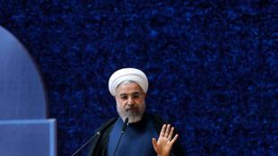 Le président iranien Hassan Rohani, le 9 avril 2015, pour la Journée nationale de la technologie nucléaire à Téhéran.