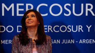 La présidente de l'Argentine, Cristina Fernandez au sommet du Mercosur à San Juan, le 3 août 2010.