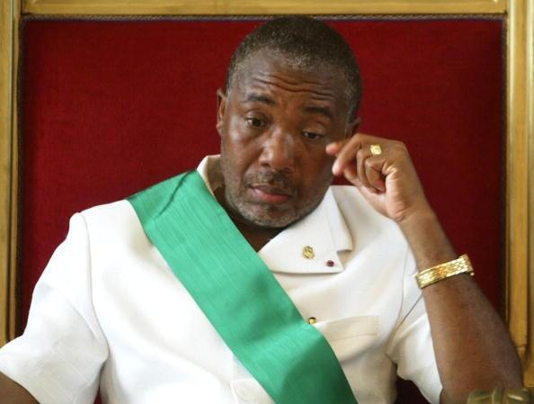 Charles Taylor le jour de sa destitution à Monrovia le 11 août 2003.