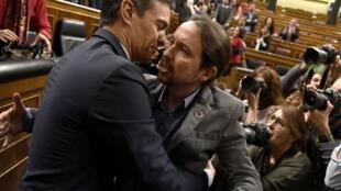 El socialista Pedro Sánchez y Pablo Iglesias, de Unidas Podemos, este 7 de enero de 2020 en Madrid.