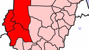 Sudan, Darfur region in red