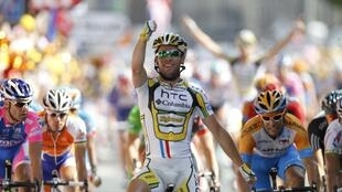 Le Britannique Mark Cavendish à l'arrivée de la 18e étape du Tour de France.
