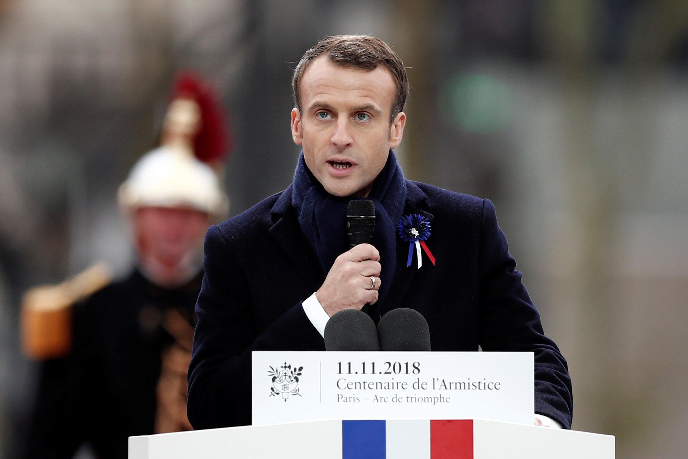 مانوئل ماکرون، رییسجمهوری فرانسه، یازدهم نوامبر، مراسم بزرگداشت یکصدمین سالروز پایان جنگ جهانی اول در پاریس