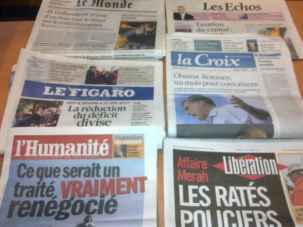 Diários franceses   02/10/2012