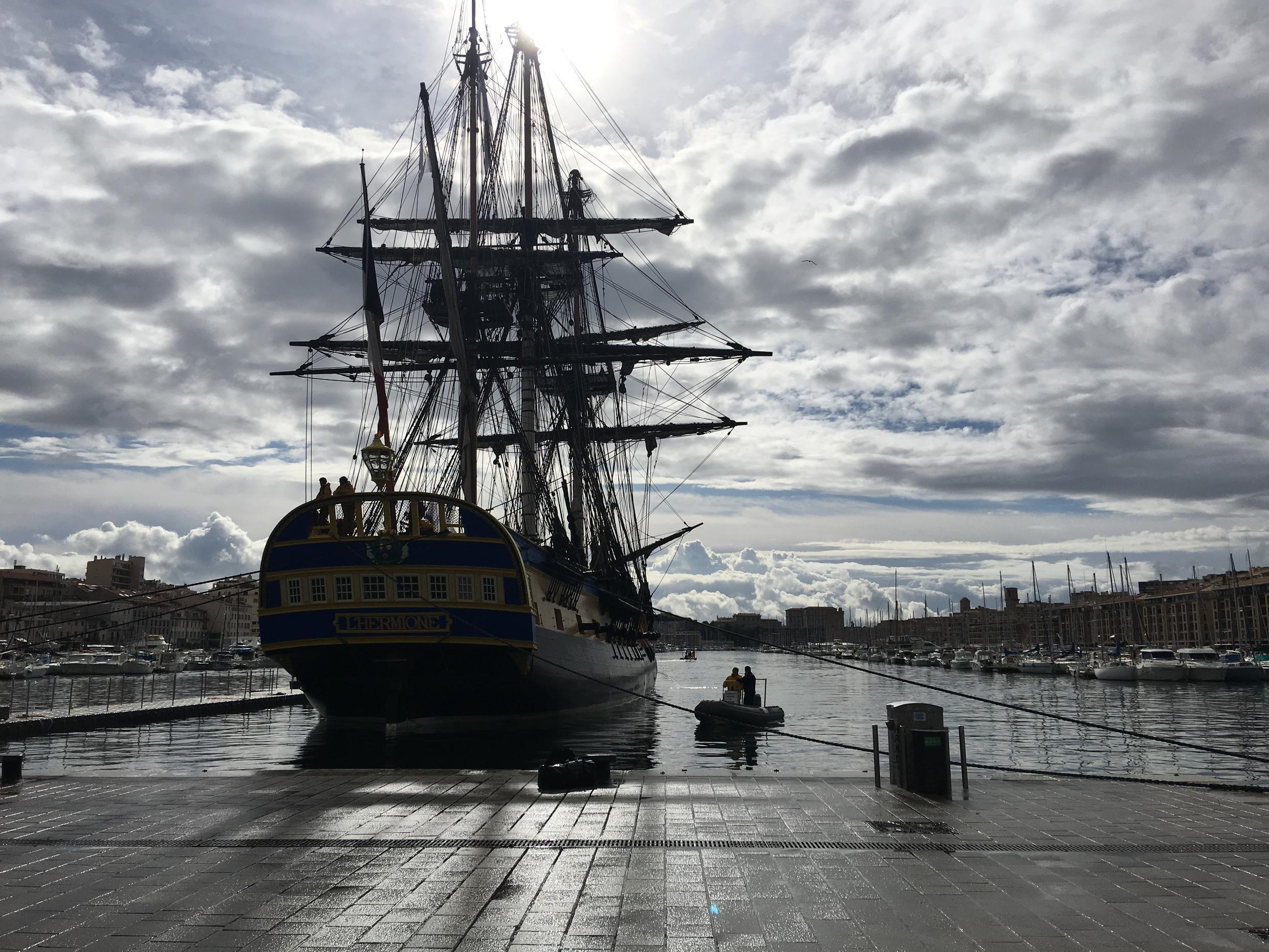 The Hermione is docked in the port of Marseille, southern France on 12 April, 2018.