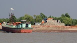 L'île de Bhashan Char, ici en octobre 2018.