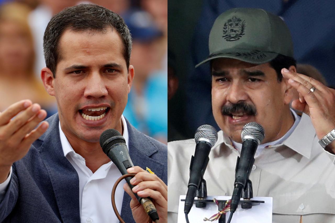 委內瑞拉臨時總統瓜伊多與官派總統馬杜羅資料圖片
