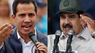 委内瑞拉临时总统瓜伊多与官派总统马杜罗资料图片