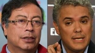 O candidato Gustavo Petro pelo partido Colombia Humana (esq.) e o candidato Ivan Duque pelo partido Centro Democrático.