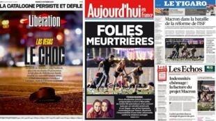O principal destaque da resenha da imprensa francesa desta terça-feira (3) é o massacre de Las Vegas.