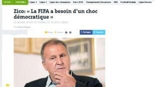 """""""Fifa precisa de um choque de democracia"""", diz Zico."""