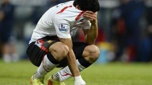 El uruguayo Luis Suárez llora al final del partido, este 5 de mayo en Londres.
