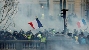Yellow vest protests in Paris on 5 January 2018, when boxer Christophe Dettinger was filmed beating police officers