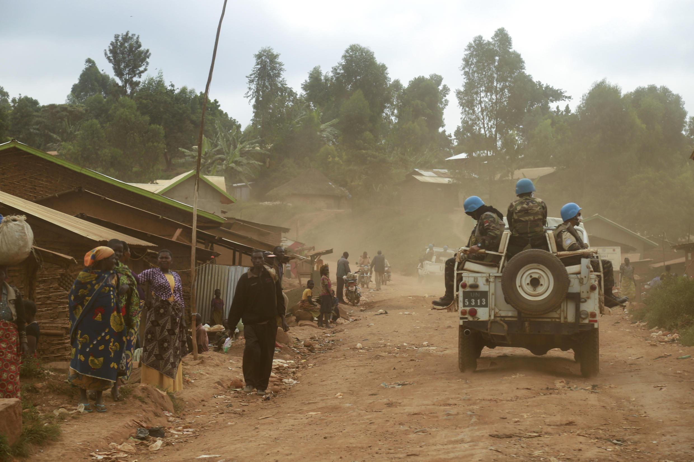 Wanajeshi wa Umoja wa Mataifa MONUSCO wakipiga doria katika mji wa Djugu mkoani Ituri Mashariki mwa DRC