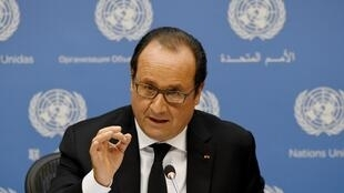 François Hollande lors, presidente francês, à imprensa a 27 de setembro na sede da ONU, em Nova Iorque.