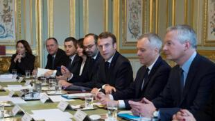 Chính phủ Pháp trong cuộc họp về chính sách năng lượng. Ảnh ngày 27/11/2018.