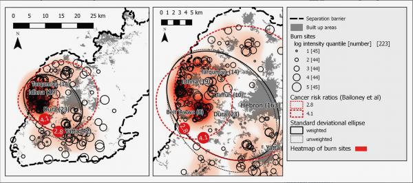 Comparaison spatiale de la zone cumulative des sites de «brûlage» et des zones d'augmentation du lymphome infantile. Étude de John-Michael Davis et de Yacoov Garb publiée dans l'«International Journal of Cancer».