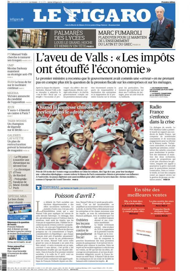 Capa do jornal francês Le Figaro desta quarta-feira, 1 de abril de 2015