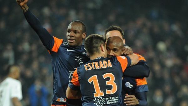 La joie de Souleymane Camara, à droite, entouré de ses coéquipiers après son but face à Rennes, le 1 mars 2013.