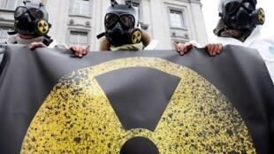Một cuộc biểu tình phản đối hạt nhân tại Bruxelles, 01/02/2016.