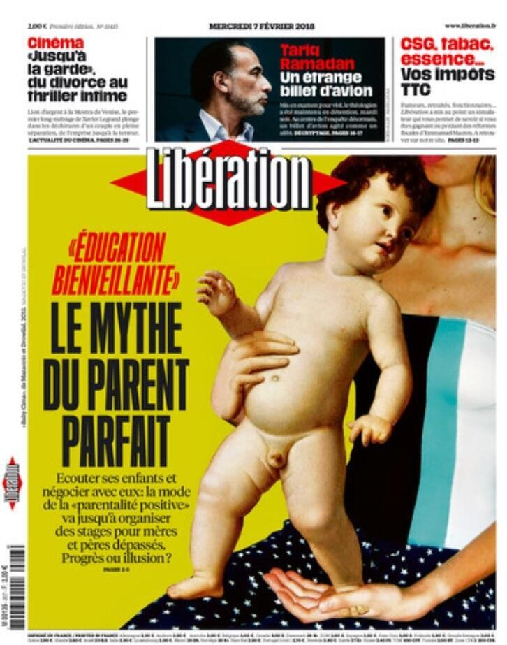 """Capa do jornal Libération desta quarta-feira (7): """"O mito dos pais perfeitos""""."""