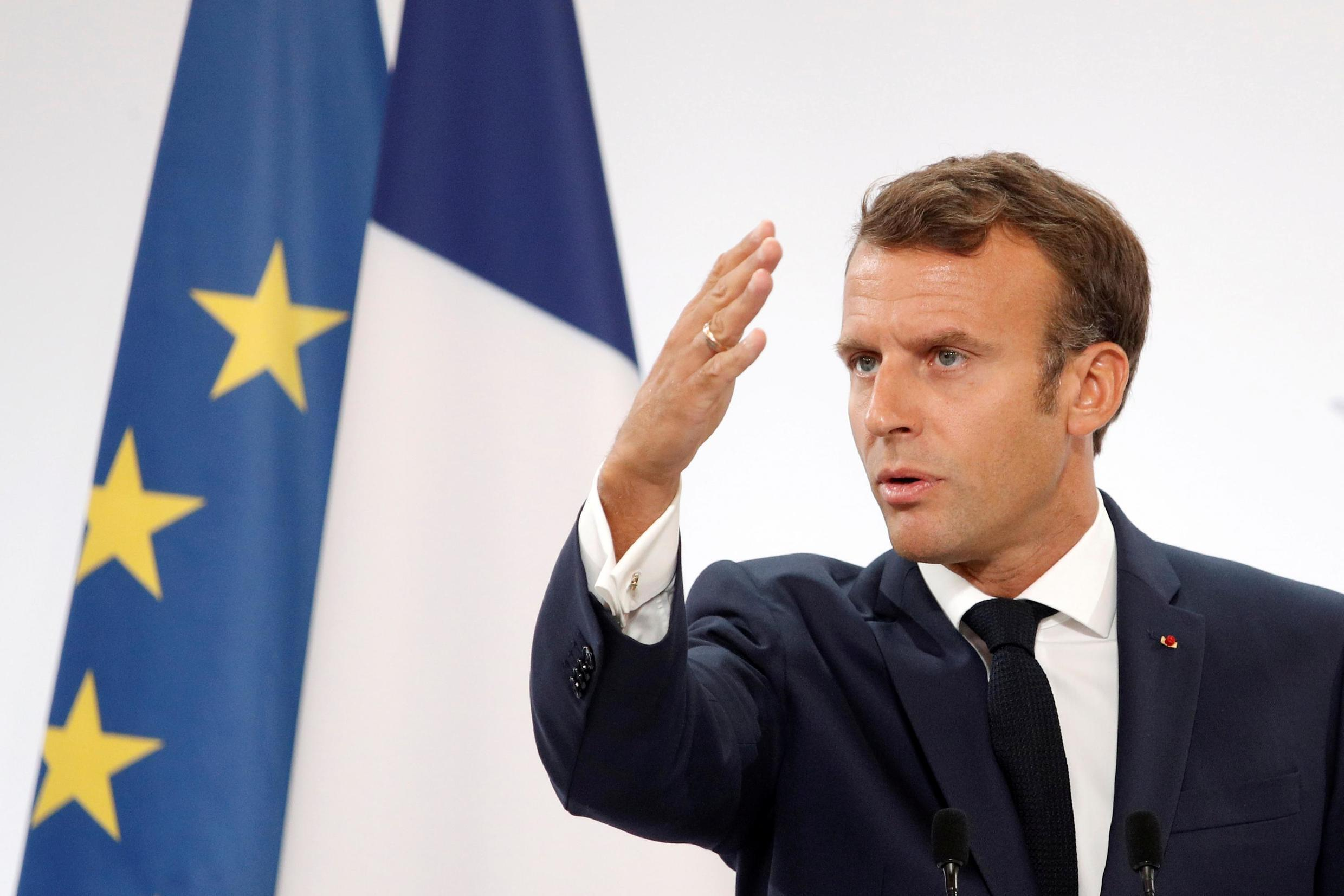 File photo of Emmanuel Macron delivering a speech  at the Elysee Palace in Paris, France August 27, 2019 Valat/Pool via REUTERS