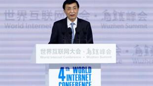 中共政治局常委王沪宁在乌镇第四届世界互联网大会开幕式上,2017年12月3日。