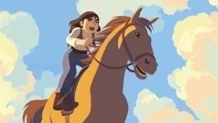 Détail de l'affiche du western d'animation de Rémi Chayé, 52 ans, «Calamity, une enfance de Martha Jane Cannary», Cristal du Festival d'Annecy 2020.