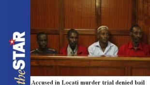O padre Guyo Waqo, Mohamed Bagalo, Aden Mohamed e Ali Halake acusados da morte do bispo Luigi Locati, no tribunal de Nairóbi.