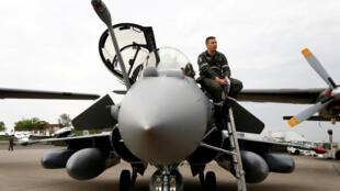 Chiến đấu cơ Rafale của tập đoàn Dassault  tại hội chợ Hàng Không Berlin. Ảnh ngày 25/04/18.