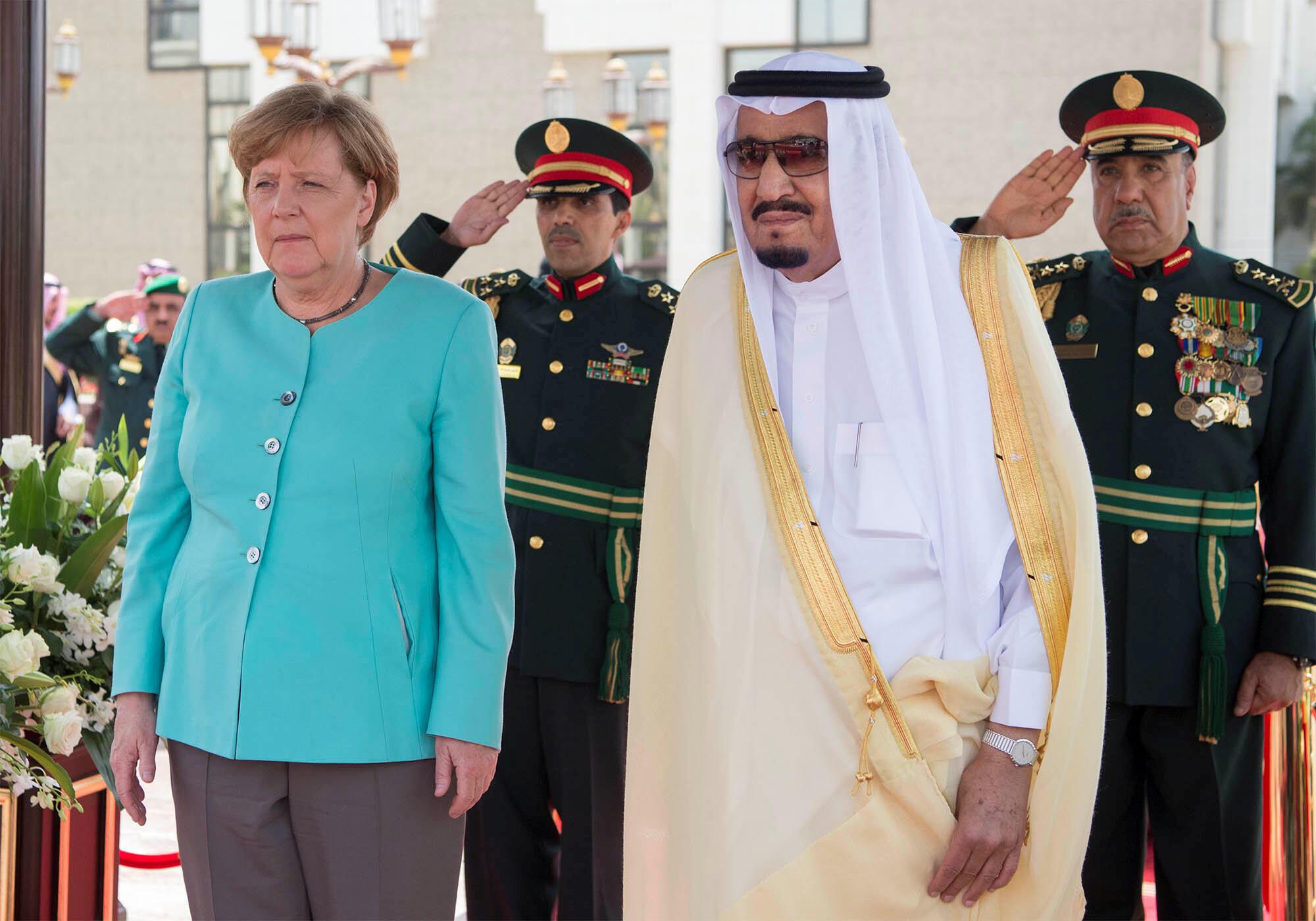 آنگلا مرکل صدر اعظم آلمان و ملک سلمان پادشاه عربستان در جده