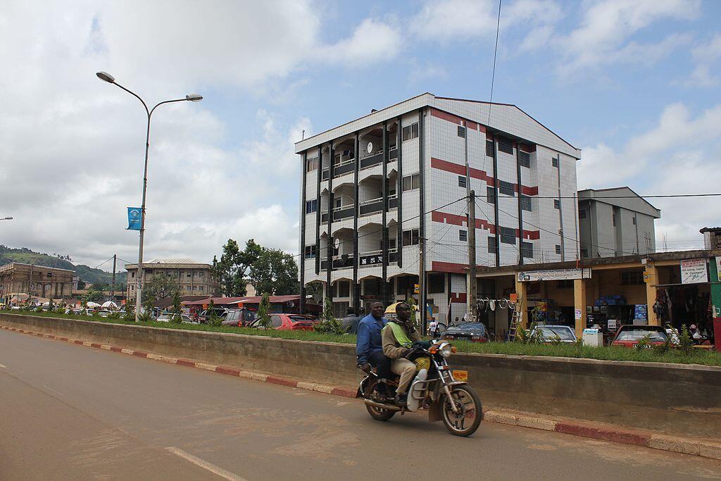 A street in Bamenda city centre, Cameroon.