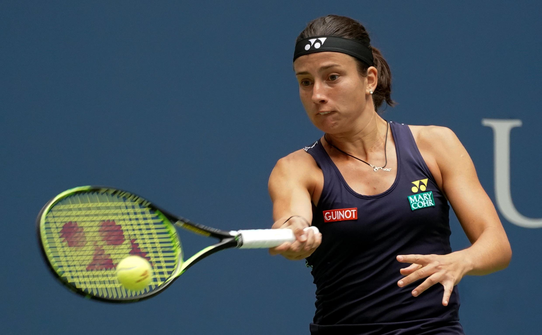 Anastasija Sevastova in action against Maria Sharapova during their fourth round match at the US Open.