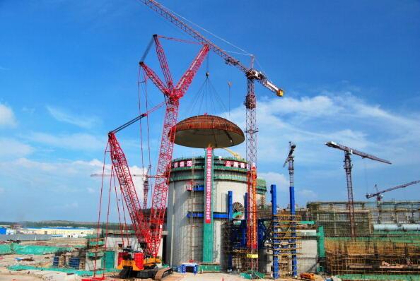 Construction du réacteur n°2 de la centrale nucléaire de Changjiang, sur l'île de Hainan, le 25 Septembre 2012.