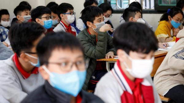 Học sinh đeo khẩu trang trong giờ học tại một trường ở Hà Nội. Ảnh chụp ngày 31/01/2020