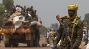Un soldat tchadien de la Misca dans une rue de Bangui, le 22 janvier 2014.
